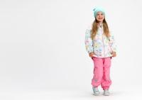 Демисезонный комплект Крокид на флисовом подкладе для девочек цвет розовый принт