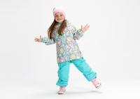 Демисезонный комплект Крокид на флисовом подкладе для девочек цвет мятный принт
