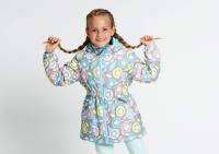 Демисезонная куртка Крокид с утеплителем для девочки цвет серый принт
