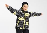 Демисезонная куртка Крокид с утеплителем для мальчика цвет черный с желтым